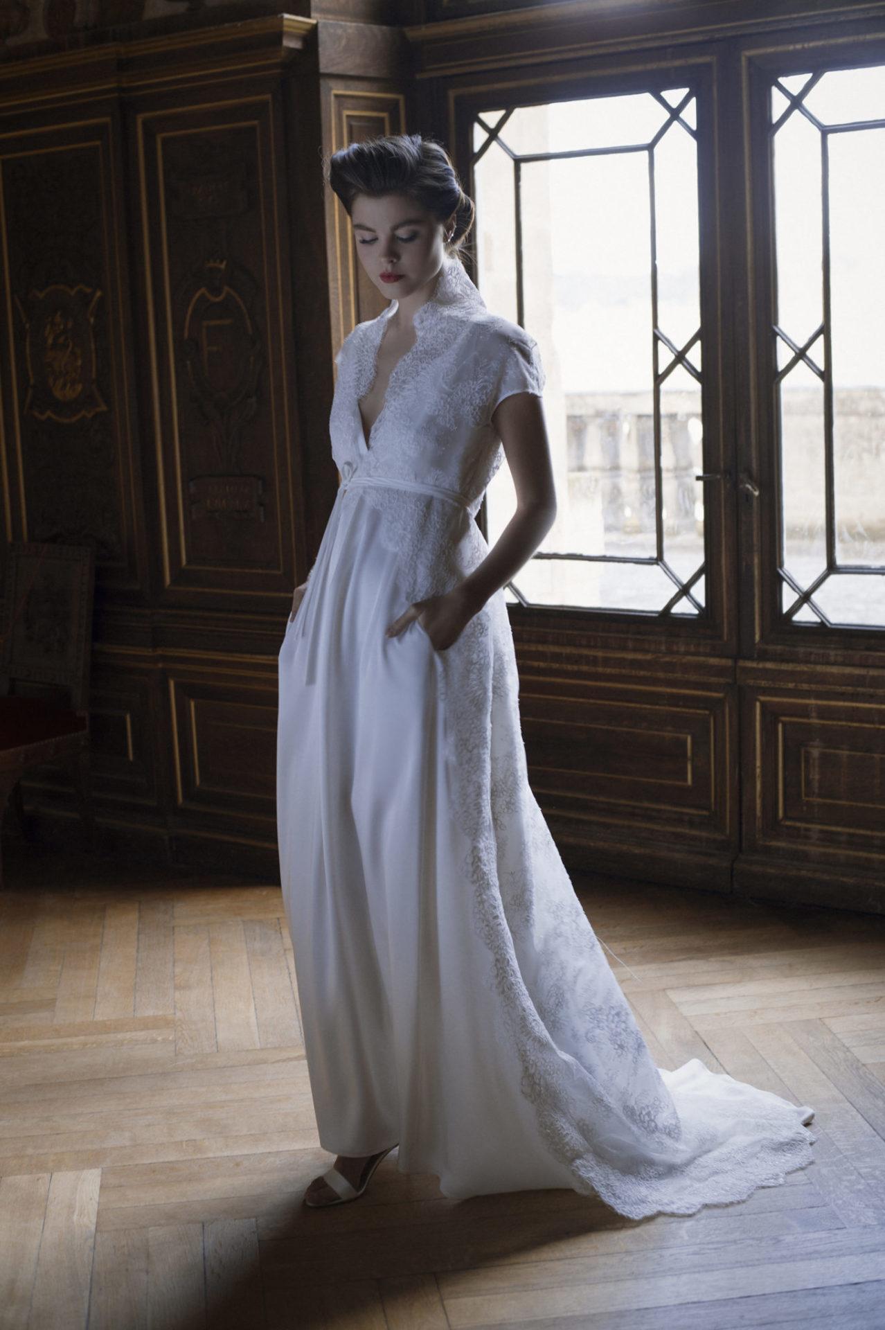 Robe de mariée avec col en dentelle - Ensemble Bourgeoise